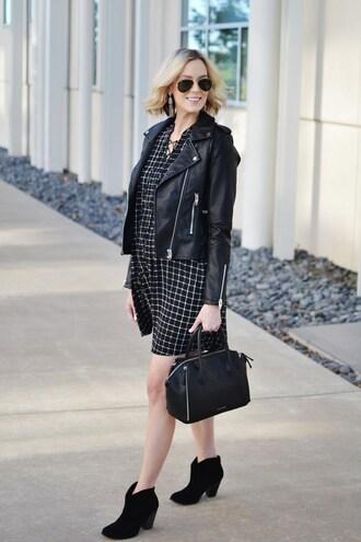 straight a style blogger dress bag jacket shoes jewels maternity stripes leather jacket mini dress maternity dress aviator sunglasses