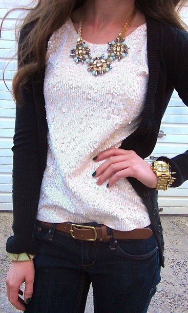 shirt blouse fall outfits cardigan necklace sequins outfit idea