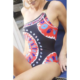 swimwear one piece swimsuit fashion style trendy pattern beach summer rose wholesale-ap red sexy hot gamiss