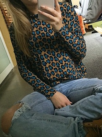 blouse blue leopard print leopard print beige long sleeves