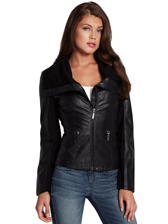 7db9cec2 G by GUESS Women's Lorelei Faux-Leather Jacket at Amazon Women's Coats Shop