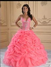 dress,coral,pink,quinceanera dress,ball gown dress,gown,roses