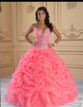 dress coral pink quinceanera dress ball gown dress gown roses