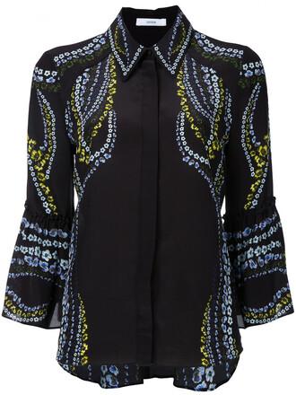 shirt women print black silk top