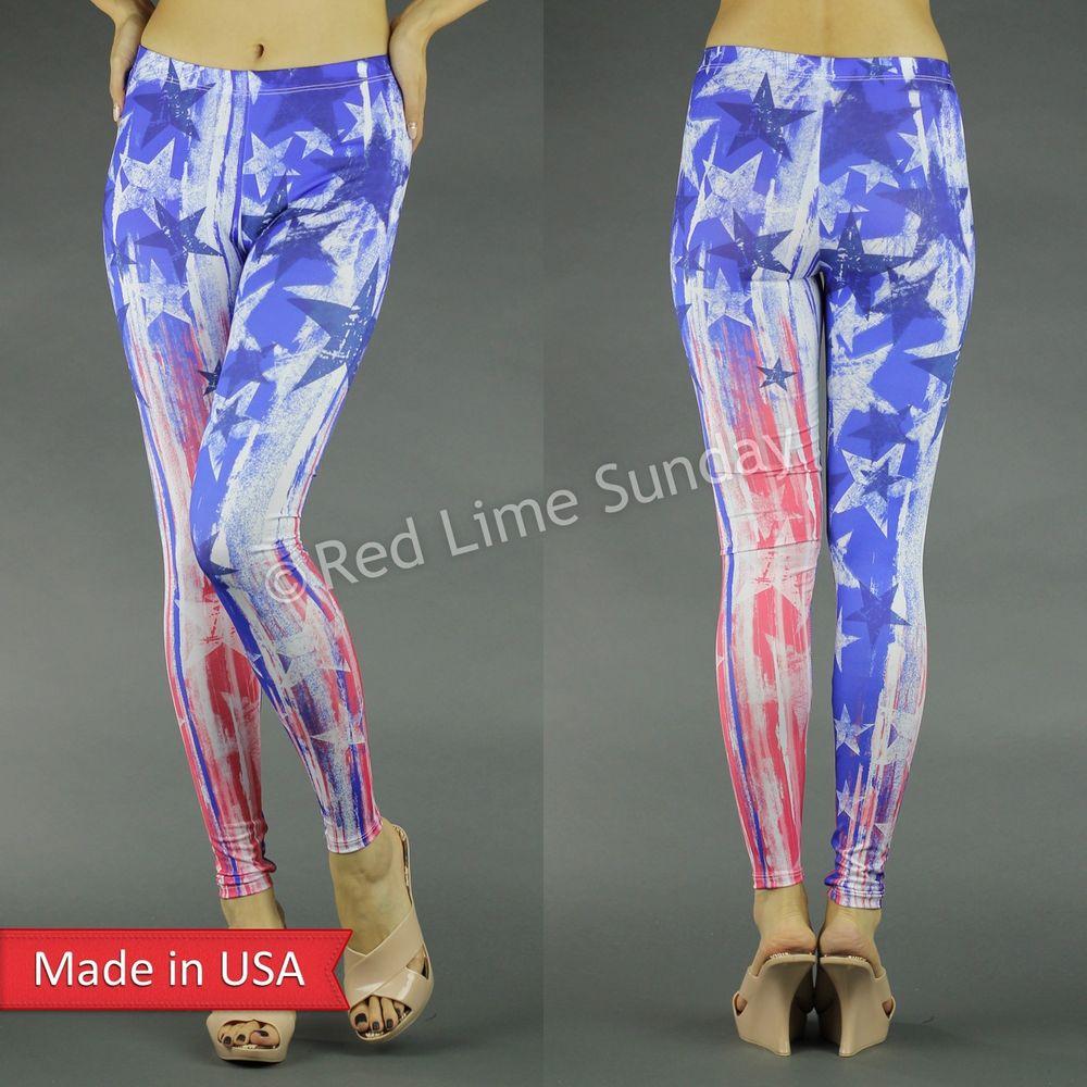 New US American Flag Stars n Stripes Weathered Print Leggings Tights Pants USA