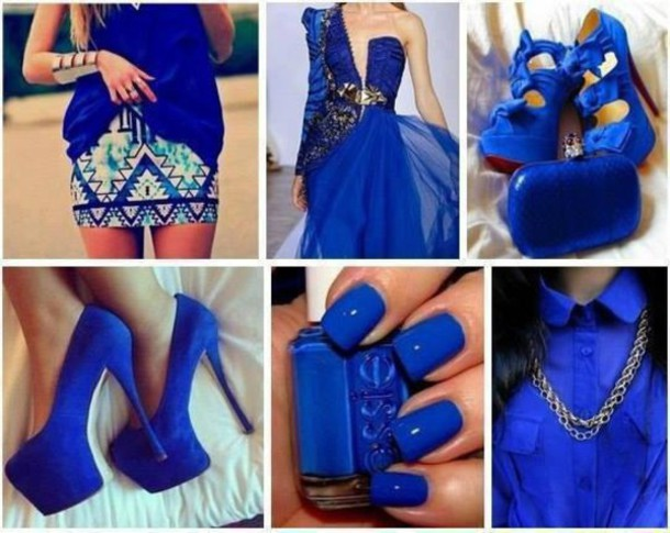 Blue dress maxi nails