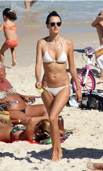 swimwear bikini bikini top bikini bottoms alessandra ambrosio white bikini beach summer