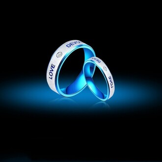 jewels love and devotion promise ring blue titanium steel rings for lover titanium steel promise rings for couple with inscription love devotion cz inlaid titanium steel couple rings evolees.com