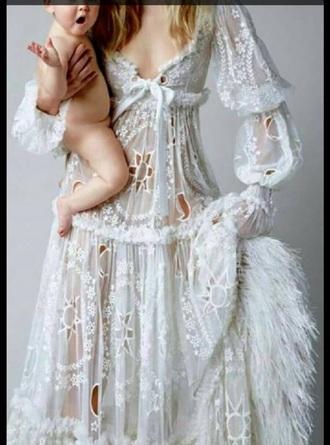 dress white dress hippie