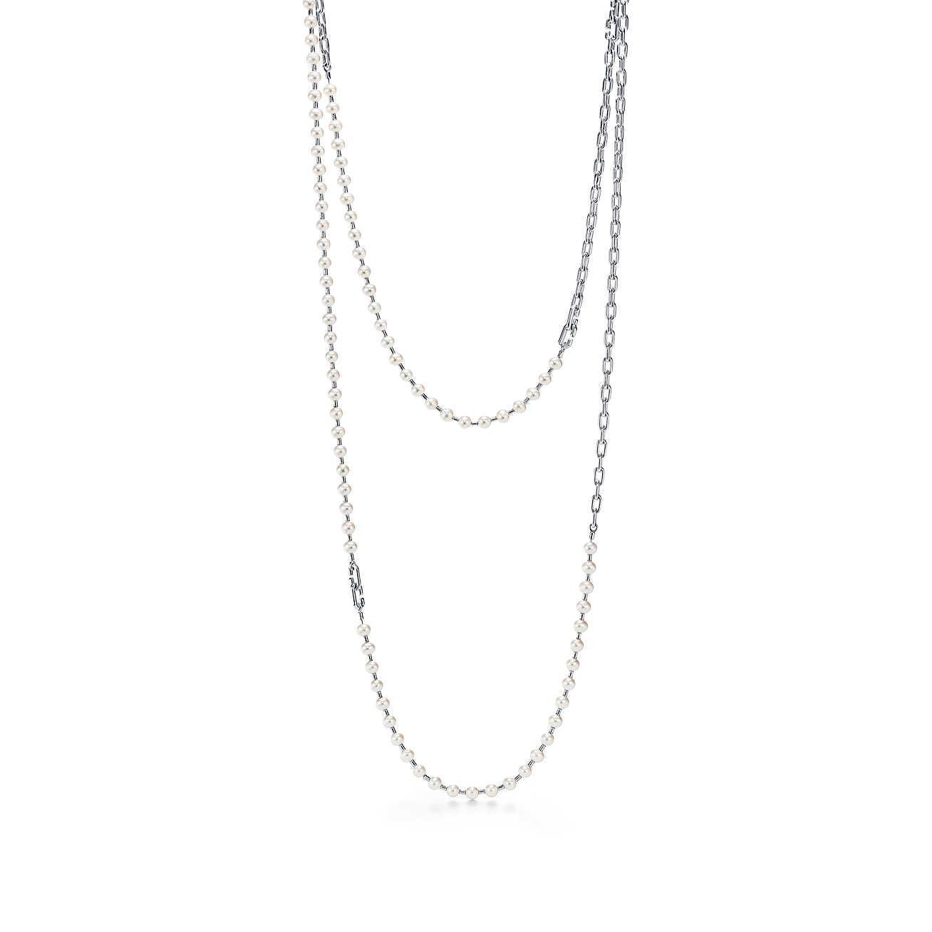 Tiffany HardWear freshwater pearl wrap necklace in sterling silver