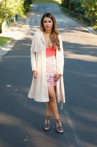 gumboot glam blogger top coat shoes summer outfits trench coat sandals high heel sandals