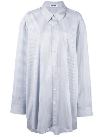 shirt oversized women cotton blue top
