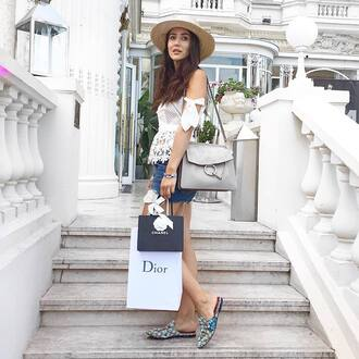 shoes gucci shoes gucci princetown slide shoes shorts blue shorts denim shorts top white top white lace top lace top off the shoulder off the shoulder top bag chloe chloe faye bag grey bag chloe bag shoulder bag sun hat hat straw hat tamara kalinic blogger printed slippers
