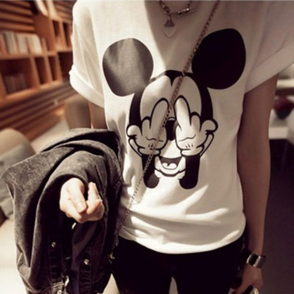 t-shirt fuck off mouse top mickey mouse black and white teenagers middle finger shirt mickey mouse shirt whiteshirt bring me the horizon writing