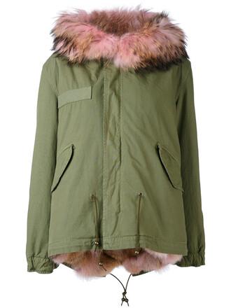 parka mini fur women cotton green coat