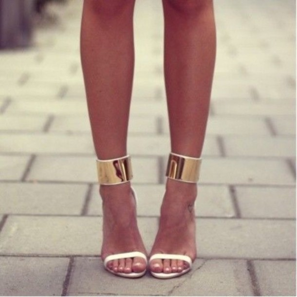 Gold Strap Heels - Pqyc Shoes Heels High Heels Strappy Sandals Ankle Strap Gold Ankle Strap White Sandal Heels Sandals Sneakers Gold Cuff Gold White Ankle Strap High Heels White Heels Gold Heels Gold Whit