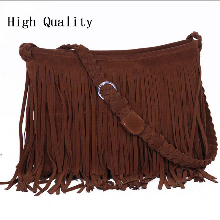 bolsa feminina hot womens messenger bags vintage leather handbags designer tassel bag cross body shoulder bag hobos bolsa franja-in Messenger Bags from Luggage & Bags on Aliexpress.com