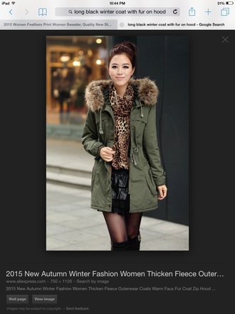 jacket green black winter coat winter outfits style fashion long coat fur warm chic