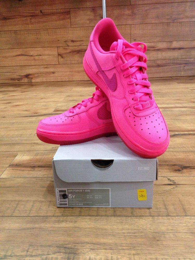 NEW NIKE AIR FORCE 1 Low GS SZ 314219-602 HYPER PINKVIVID PINK 5Y ...