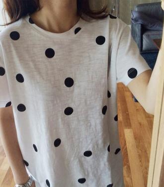 shirt t-shirt dots tee gray black