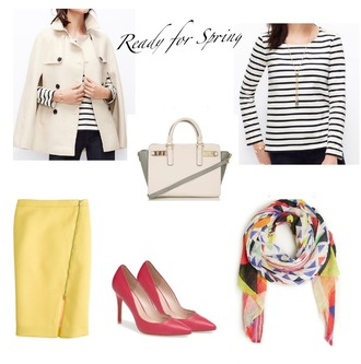 lilly's style blogger cape striped top red heels printed scarf coat bag top skirt shoes scarf