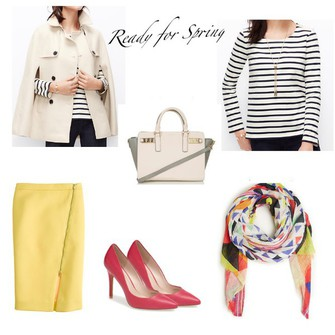 scarf bag shoes coat skirt top blogger red heels lilly's style printed scarf cape striped top scarf red
