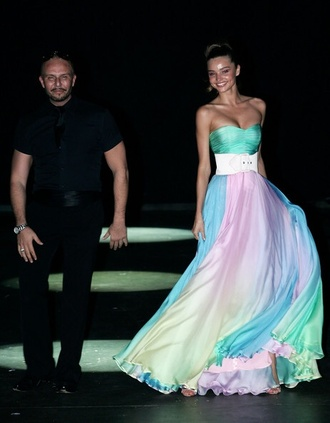dress rainbow long prom dress wedding clothes