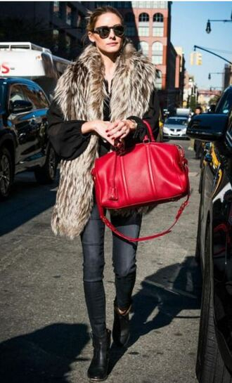 shoes ankle boots fur fall outfits olivia palermo scarf fur scarf