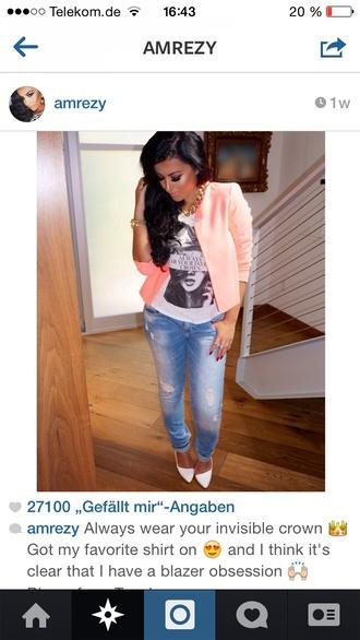jacket peach blazer
