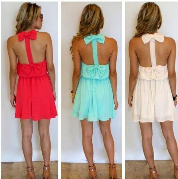 dress Bow Back Dress bow cute