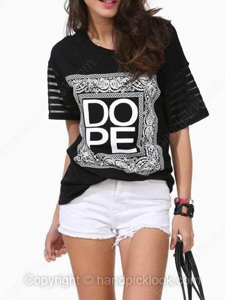 Black Short Sleeve DOPE Print T-Shirt - HandpickLook.com