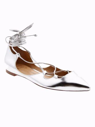 shoes metallic metallic shoes silver silver shoes strappy flats pointed toe spring accessory banana republic flats