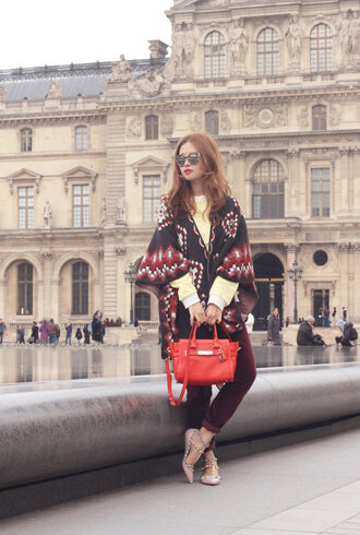 mellow mayo blogger red bag poncho