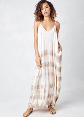 dress,lovestitch,maxi,sexy,gypsy,pockets,effortless,off-white,white,pink,taupe,straps,adjustable,sleeveless,tie dye,deep v,loose,plunge v neck