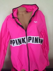 coat,pink,jacket,victoria secret windbreaker,flourecent pink,black,anorak,rain,cute,letters,victoria's secret,pink by victorias secret,windbreaker,black and white,bright