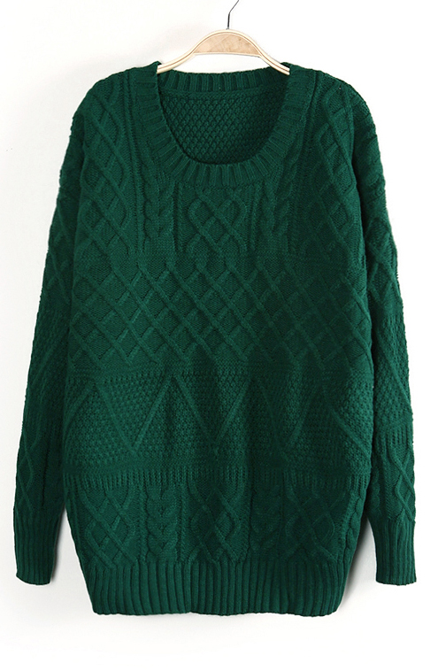 Green Long Sleeve Cable Knit Pullover Sweater - Sheinside.com