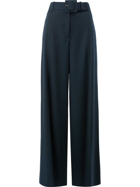 oscar de la renta high women spandex blue wool pants