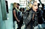 lady gaga,studs,black jacket,jacket