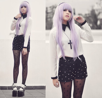 blouse pastel pastel goth studded shorts studs shorts collar long sleeves purple pastel purple hair accessory headband black cute socks frilly socks platform shoes cross cross necklace stockings shoes socks tights sweater