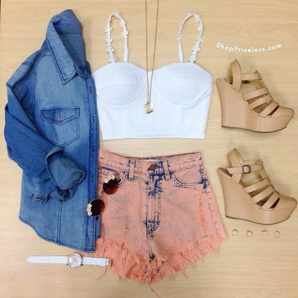 shorts High waisted shorts orange shoes shirt coat sunglasses pants coral jacket jeans high waisted salmon acid wash high waists jean shorts top bandeu top white flowers acid wash crop tops flowers brown heels