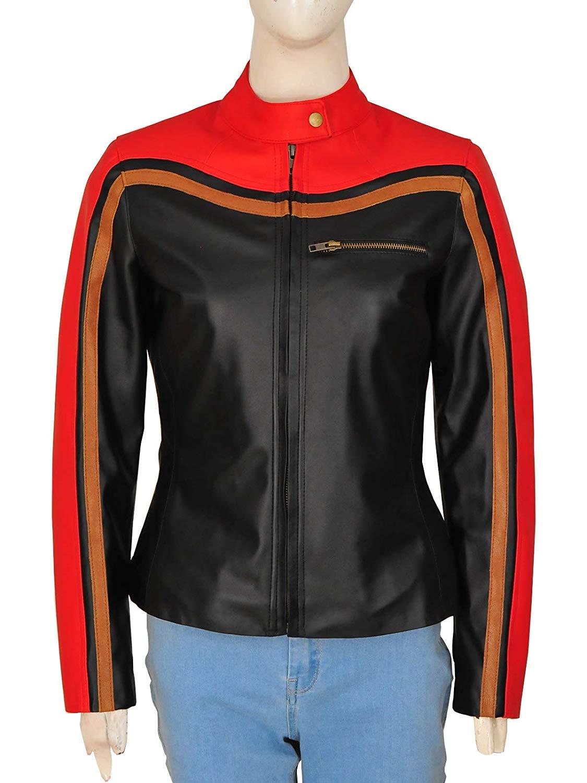 Amazon.com: Trendhoop Women Red and Black Moto Style Leather Biker Jacket: Clothing