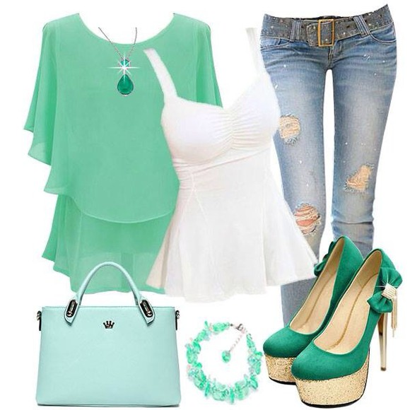 jeans ripped top blouse outfit green necklace high heels purse