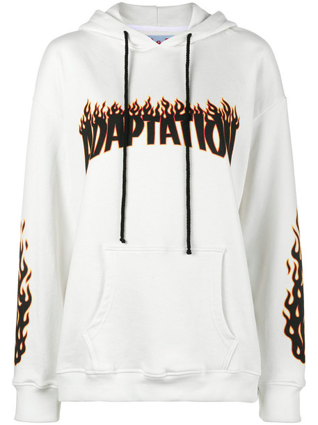Adaptation hoodie embroidered women white cotton sweater