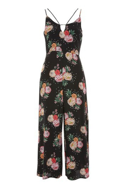 Topshop jumpsuit floral print black