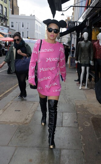 rita ora dress sweater pink sweater dress boots over the knee boots
