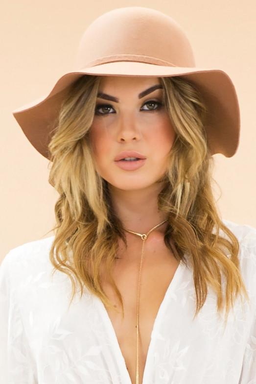 Camel floppy wool boho hat