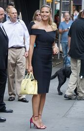 dress,off the shoulder,midi dress,black dress,sandals,heidi klum,purse,summer dress,summer outfits,model off-duty,shoes,black off shoulder dress,sexy dress,bodycon dress,yellow dress,sandal heels,high heel sandals,velvet shoes,velvet sandals