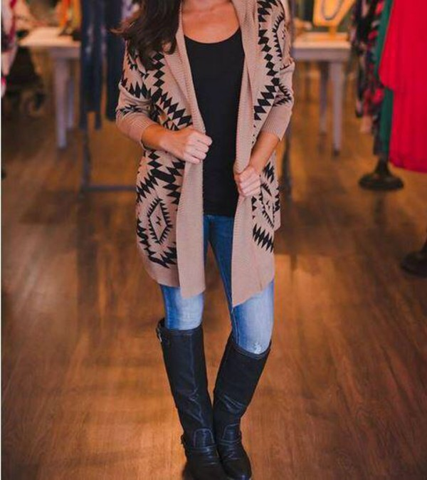 cardigan aztec fall outfits tribal cardigan aztec black boots jeans