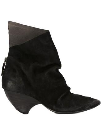 heel women boots heel boots leather suede black shoes
