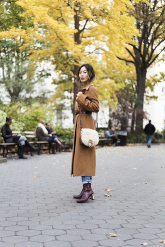 song of style blogger coat jeans shoes camel coat shoulder bag fall outfits ankle boots